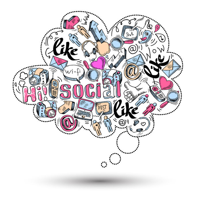 25708170 - doodle speech bubble icon with social media infographics isolated vector illustration