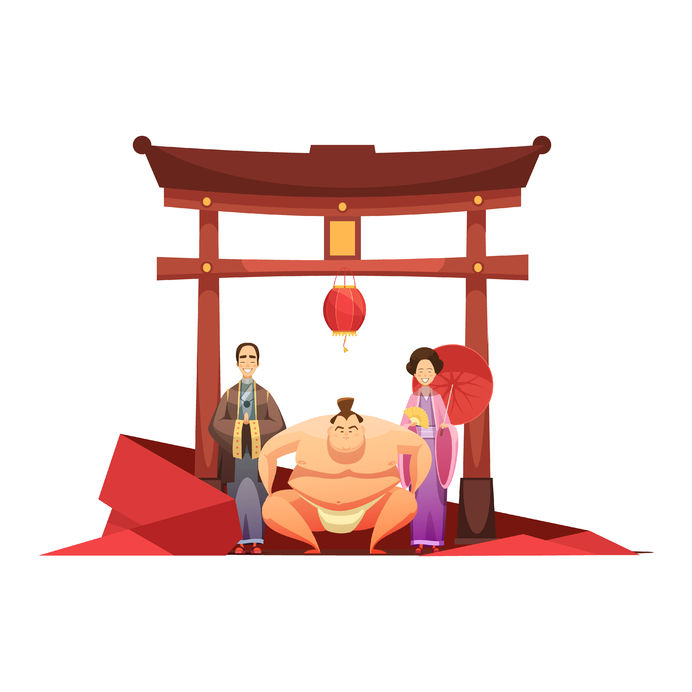 64474990 - japanese culture retro composition with pagoda sumo wrestler and in kimono dressed couple cartoon poster vector illustration