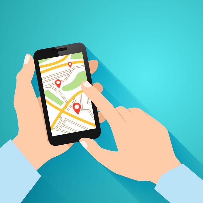 27595386 - hands holding smartphone with running navigation app vector illustration