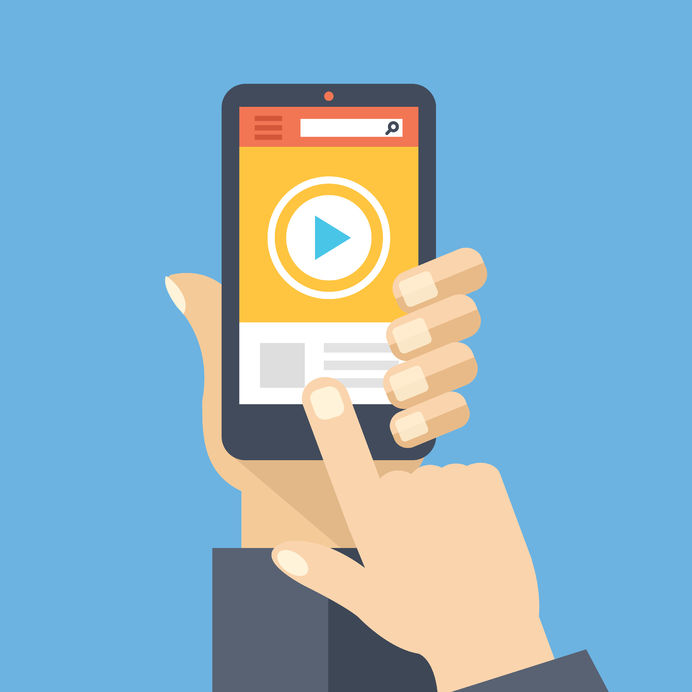 48482422 - video app on smartphone screen. watch and share digital content. flat design vector illustration