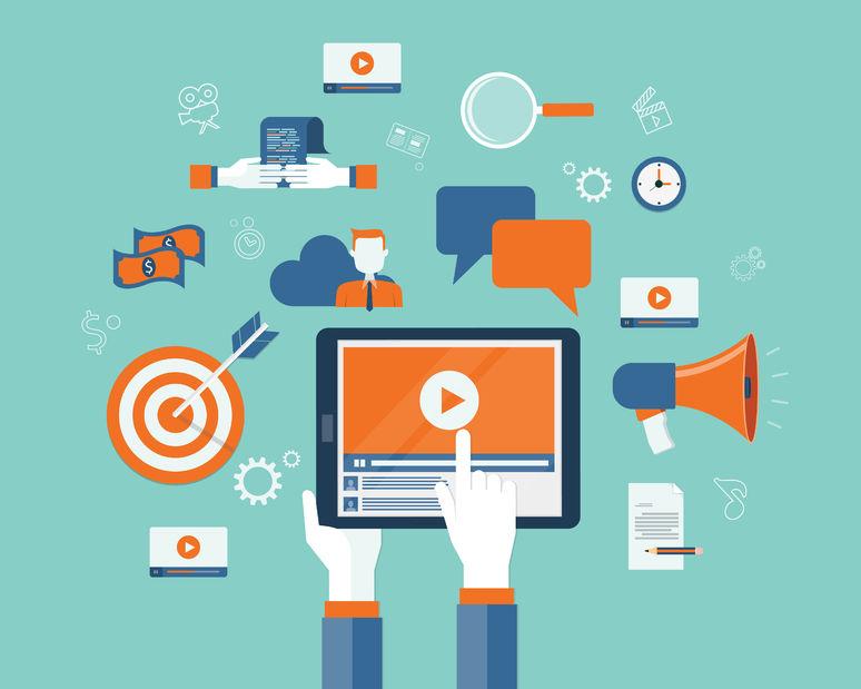 45285942 - business video marketing content online concept