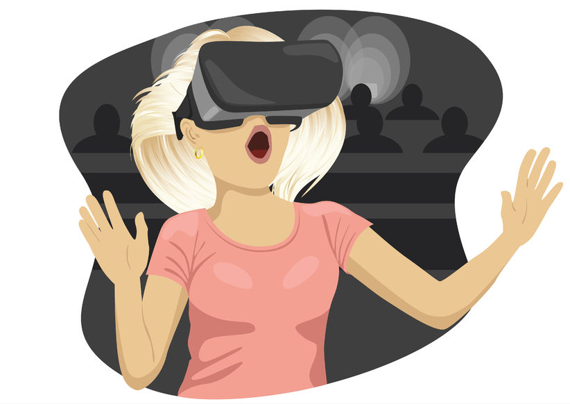 74505768 - young woman with virtual reality goggles in cinema