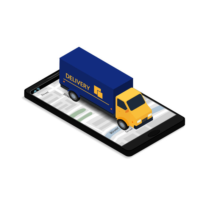 67681882 - vector illustration. the truck on the mobile phone screen with map. icon order delivery. isometric, 3d. design for commercial free fast shipping, web banner, brochure, business card. online tracking.